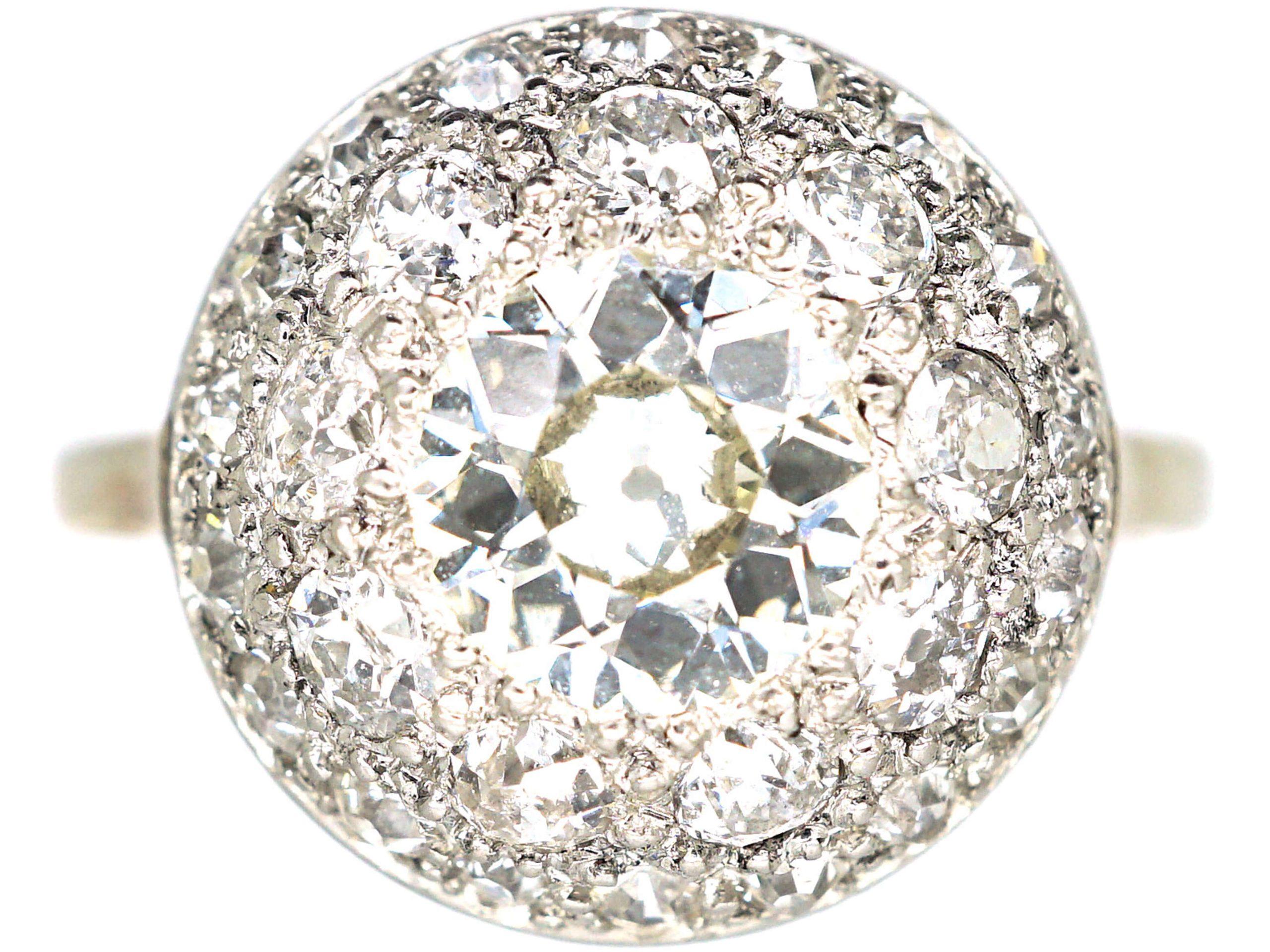 Art Deco 18ct White Gold & Platinum, Bombè Diamond Ring