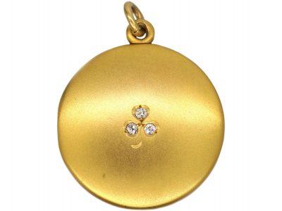 Edwardian 18ct Gold & Diamond Three Leaf Clover Round Locket