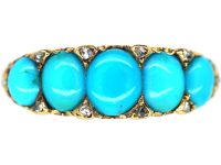 Victorian 18ct Gold, Five Stone Turquoise & Rose Diamond Forget me Not Ring