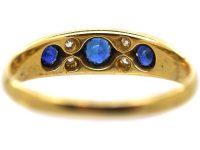 Edwardian 18ct Gold, Three Stone Sapphire & Diamond Ring