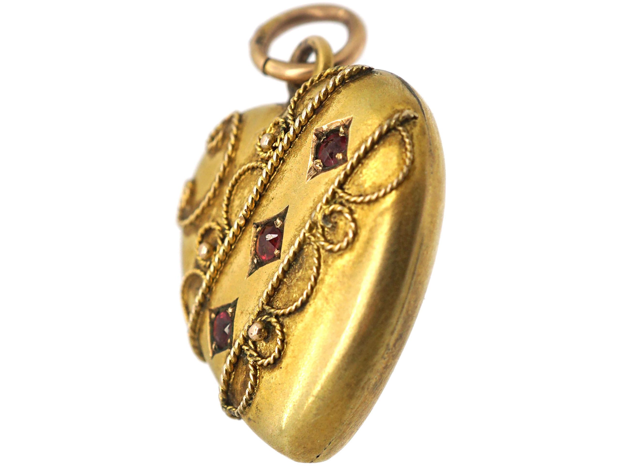 Edwardian 9ct Gold Heart Shaped Pendant set with Three Rubies
