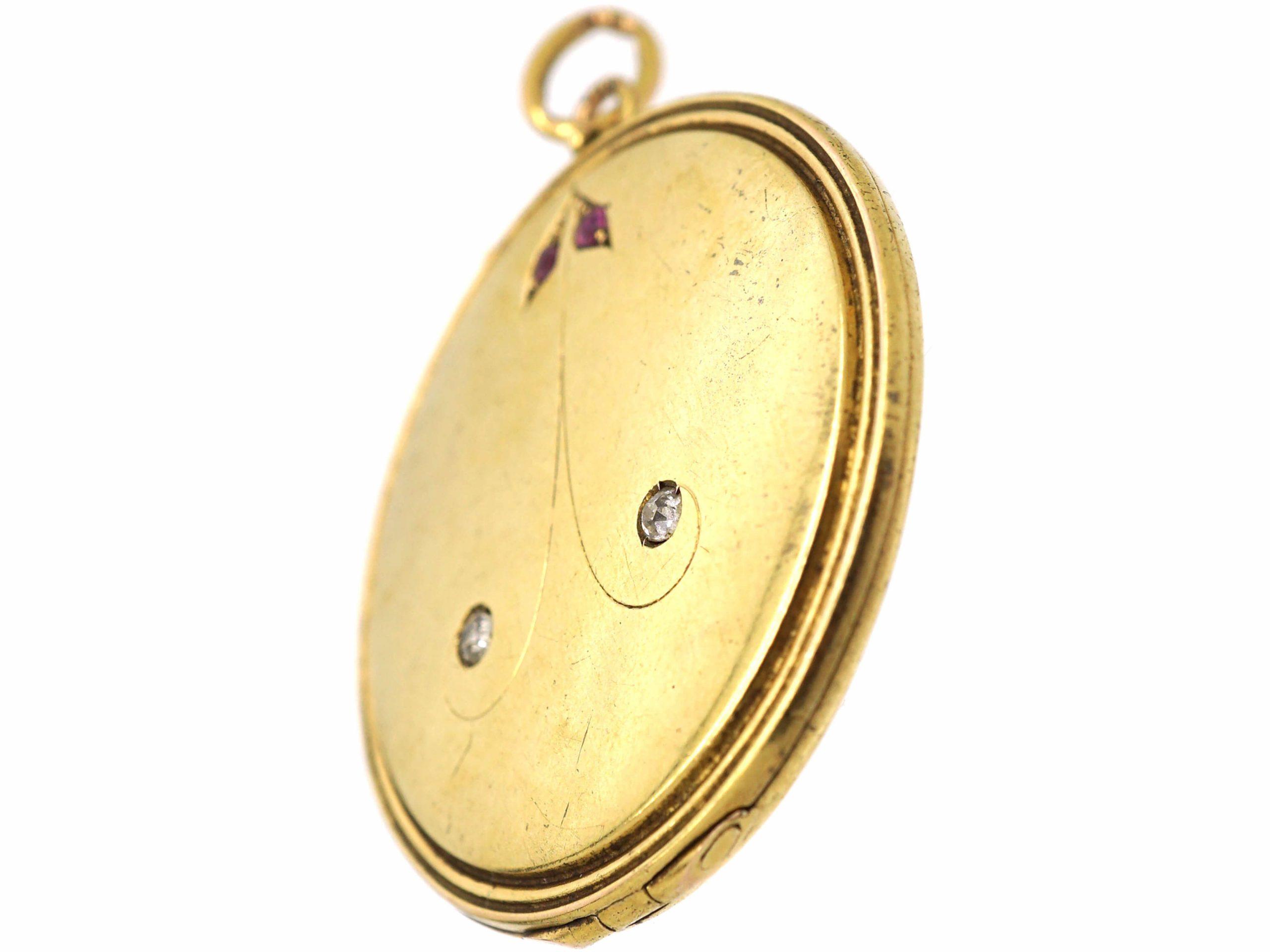 Art Noveau 18ct Gold Round Locket Set with Rubies & Rose Diamonds