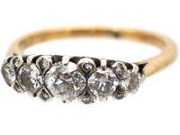 Edwardian 18ct Gold, Five Stone Diamond Ring with small Diamond Detail