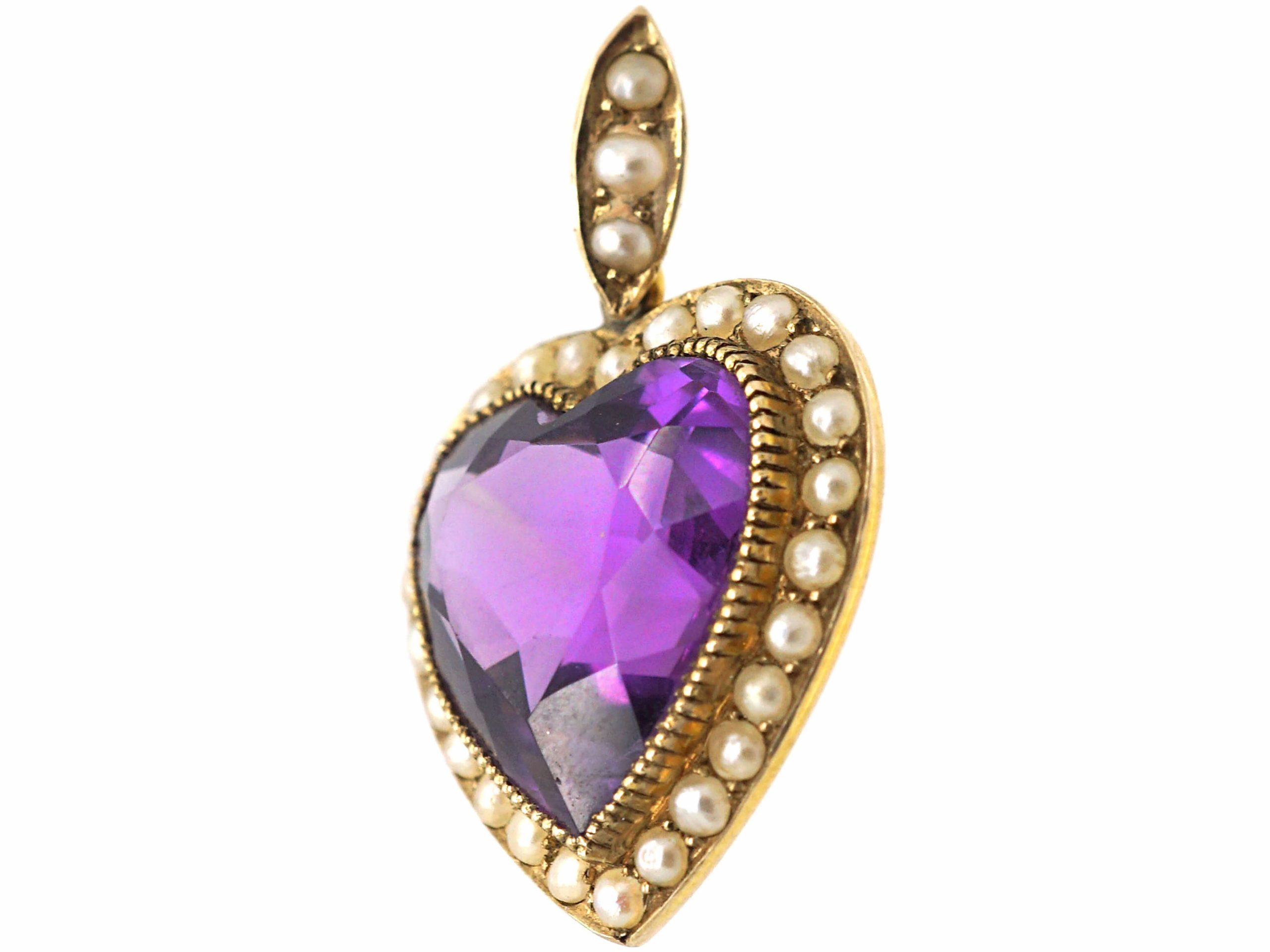 Edwardian 15ct Gold Heart set with a Heart Shaped Amethyst & Natural Split Pearls