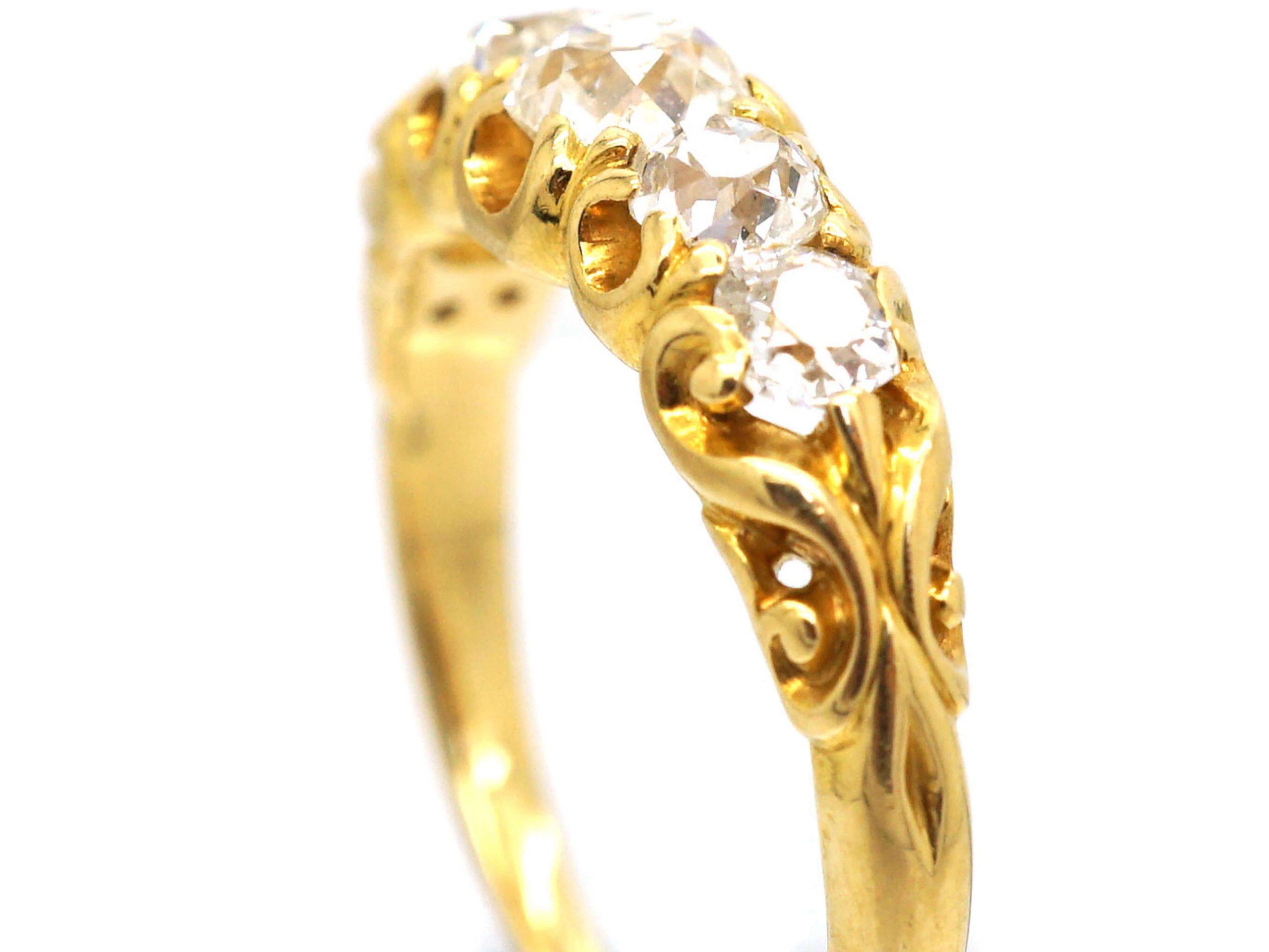 Victorian 18ct Gold, Five Stone Old Mine Cut Diamond Ring