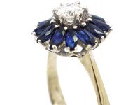 Mid Century 18ct White Gold Sapphire & Diamond Ballerina Ring