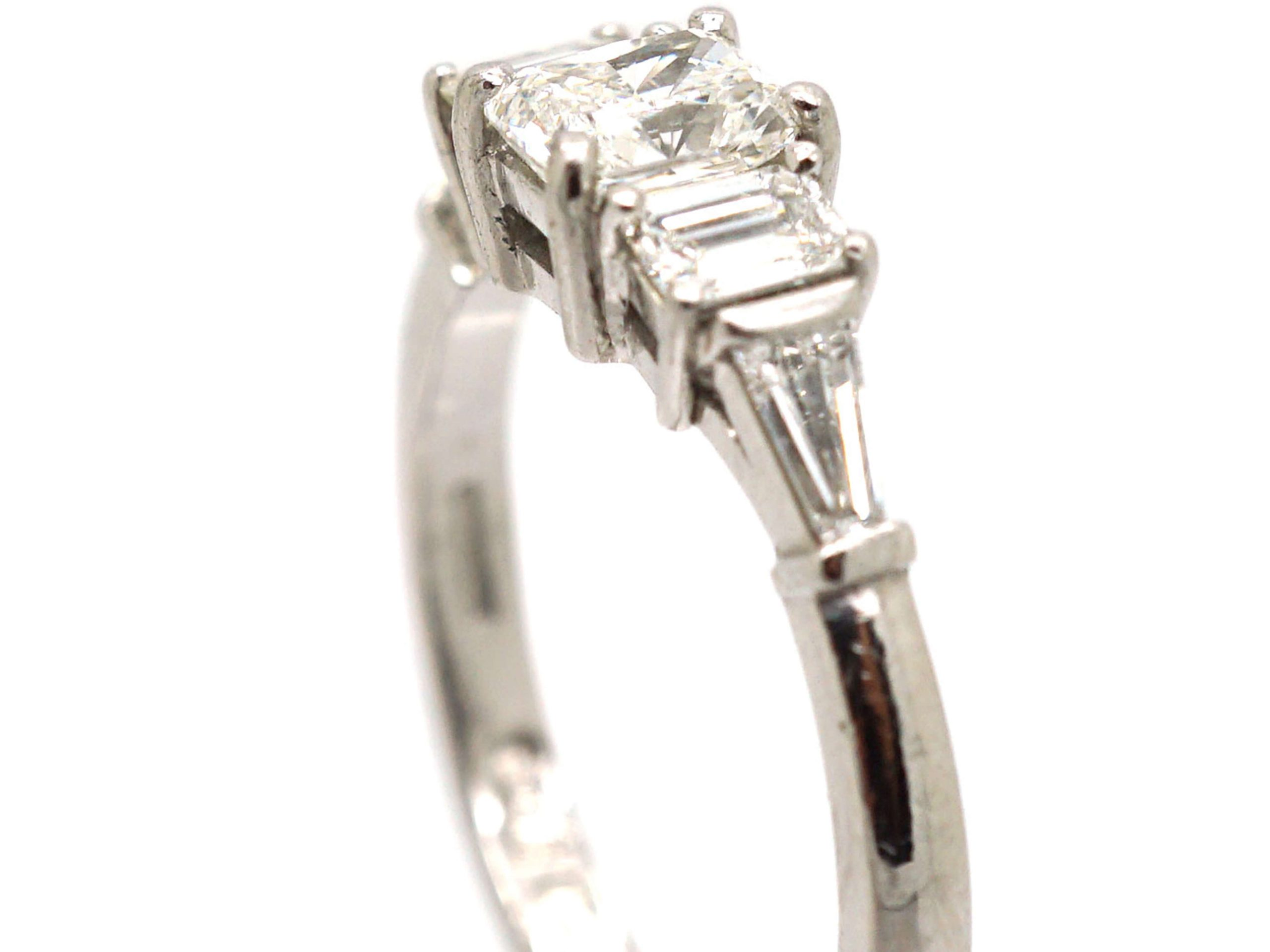 18ct White Gold Ring set with Three Baguette Diamonds