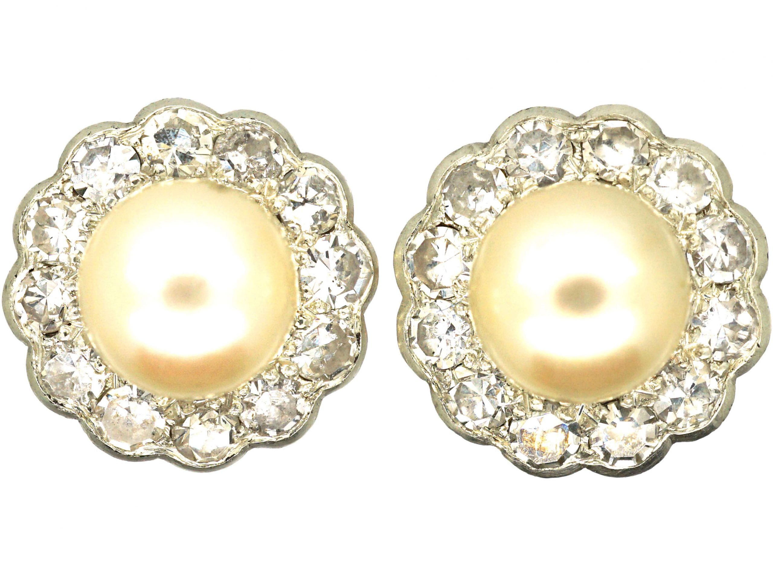 Edwardian 18ct White & Yellow Gold Cluster Earrings set with Diamonds & Natural Pearls