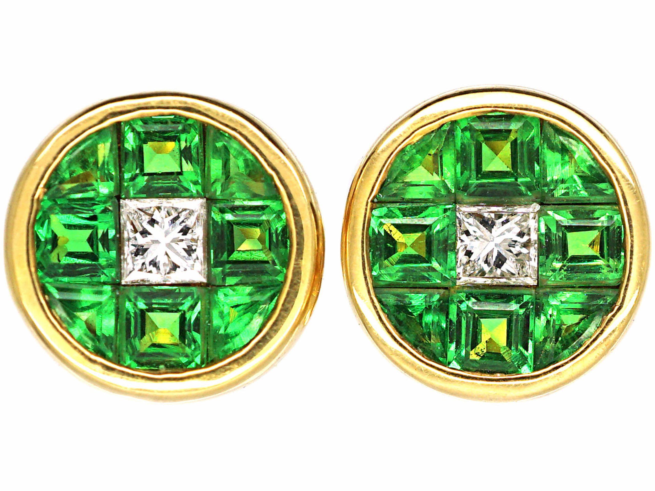 18ct Gold Tsavorite & Diamond Round Earrings