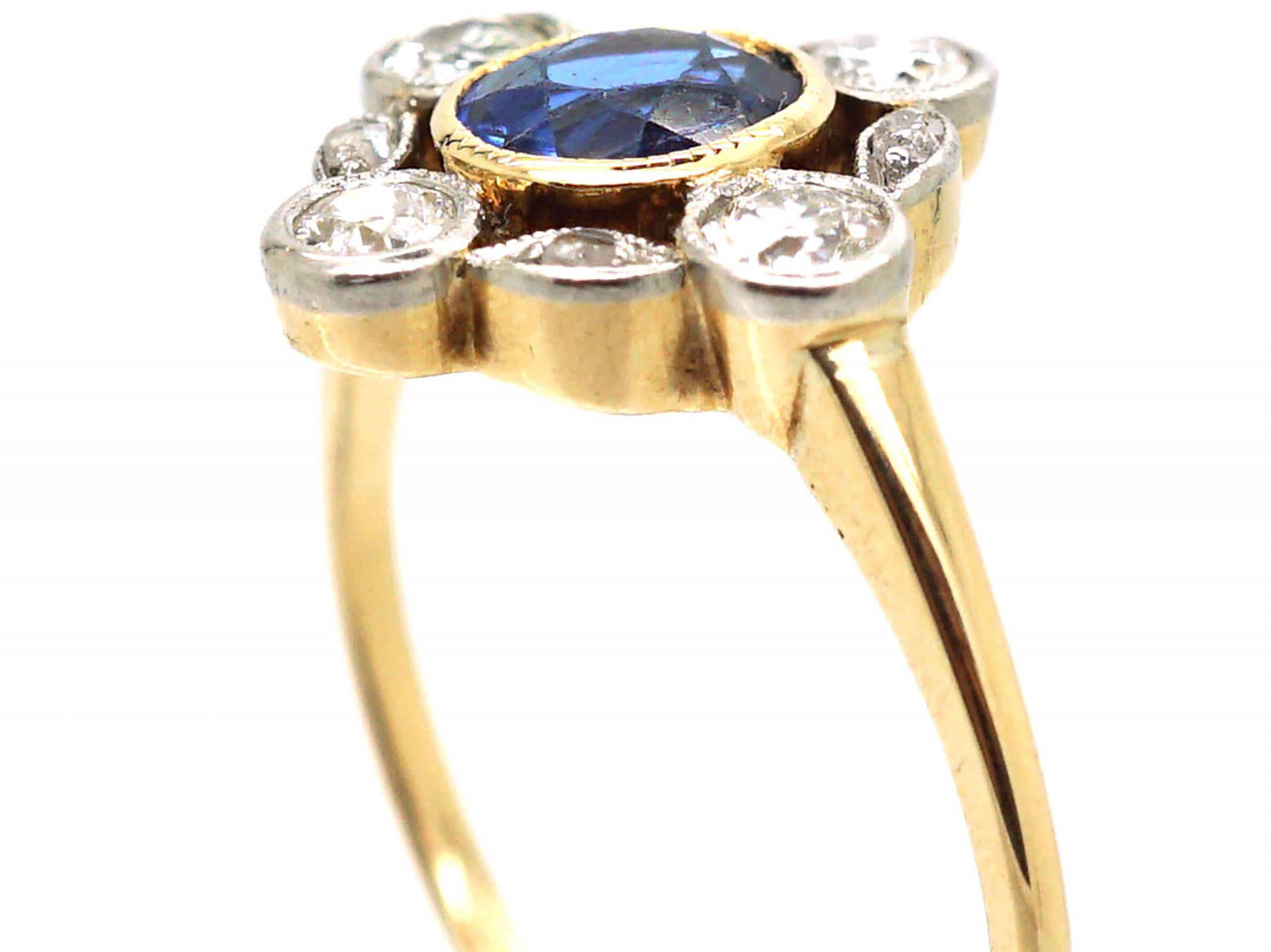 Art Deco 18ct Gold & Platinum,Sapphire & Diamond Ring