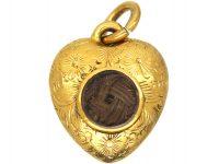Regency 15ct Gold Heart Shaped Pendant with Glazed Locket on the Reverse