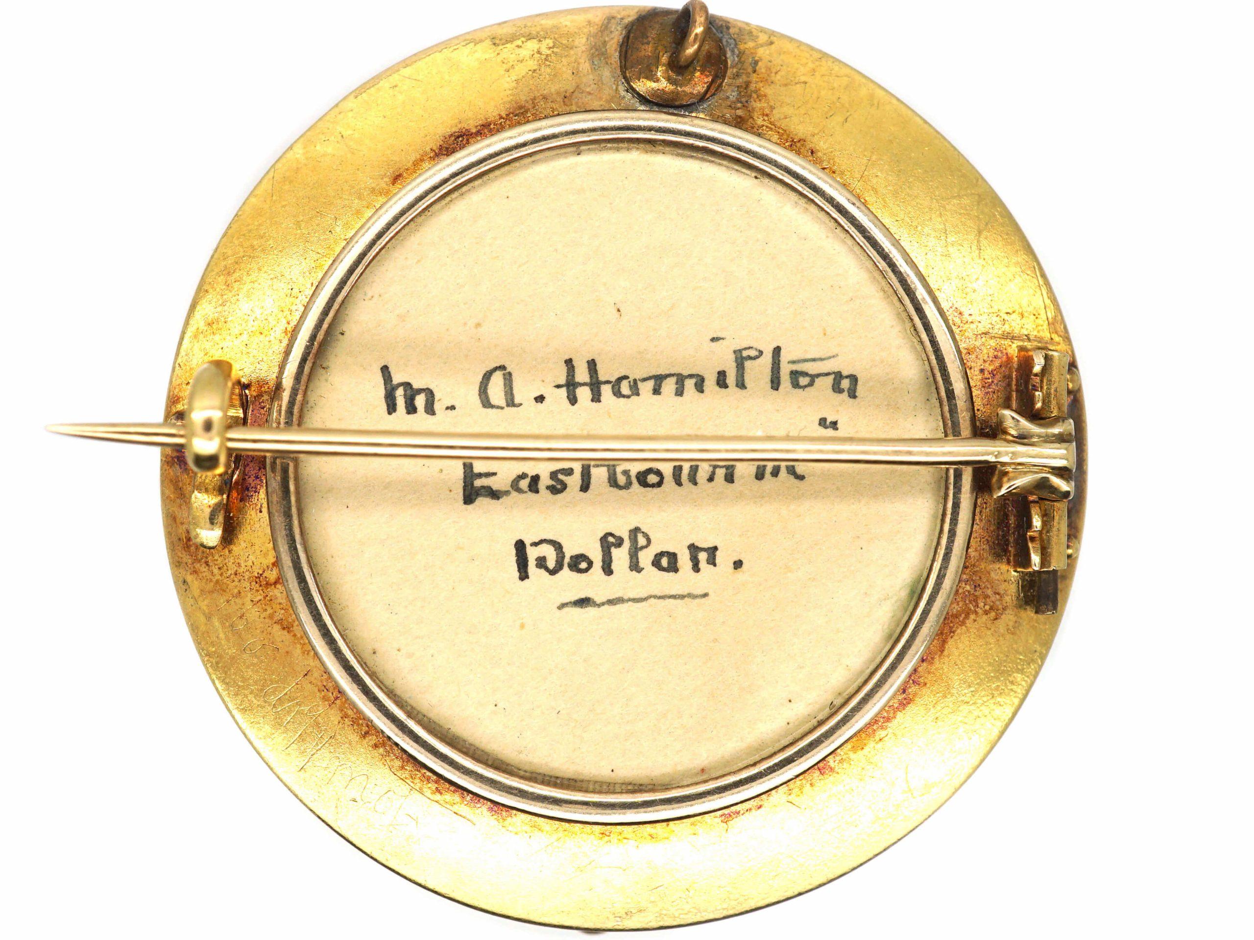 Victorian 15ct Gold Round Garter Brooch set with Almandine Garnets & Natural Split Pearls with Glazed Locket on the Reverse