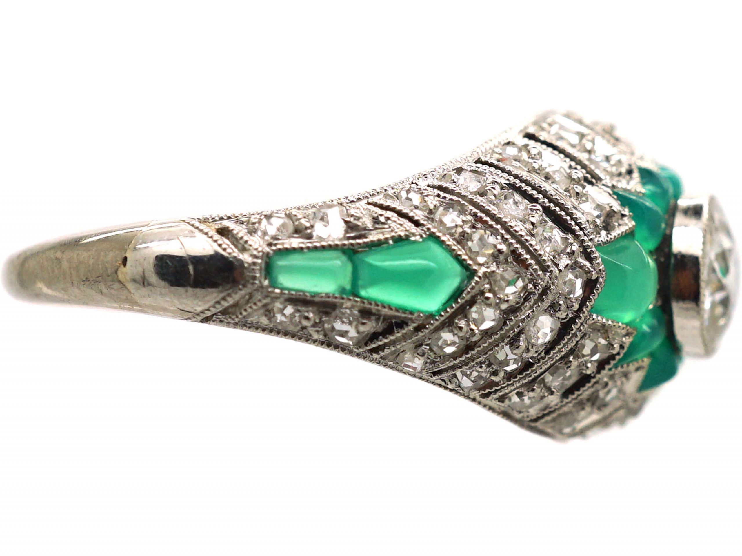 Art Deco Platinum, Green Chalcedony & Diamond Stylised Cluster Ring