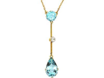 Art Deco 15ct Gold, Aquamarine & Diamond Pendant on Chain