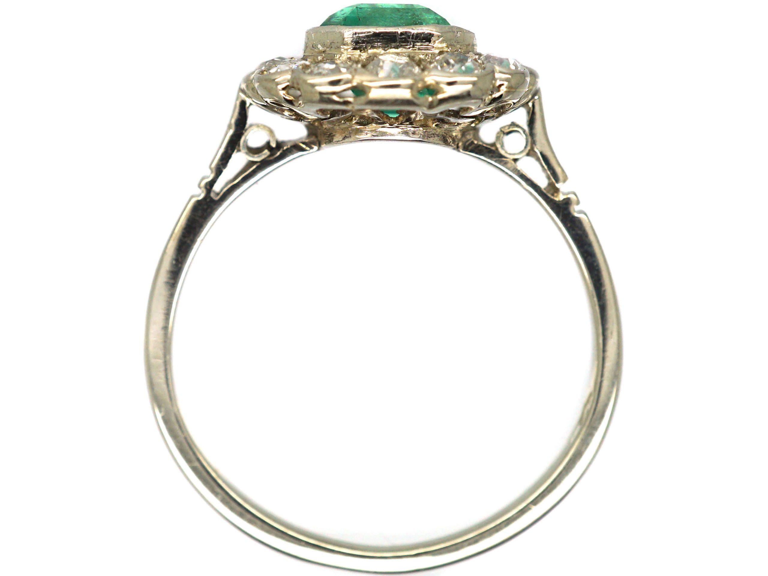 Art Deco 14ct White Gold, Emerald & Diamond Cluster Ring