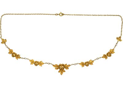 French 18ct Gold, Art Nouveau Necklace with Roses & Natural Pearls Motif