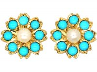 Edwardian 15ct Gold, Turquoise & Natural Split Pearl Forget me Not Earrings