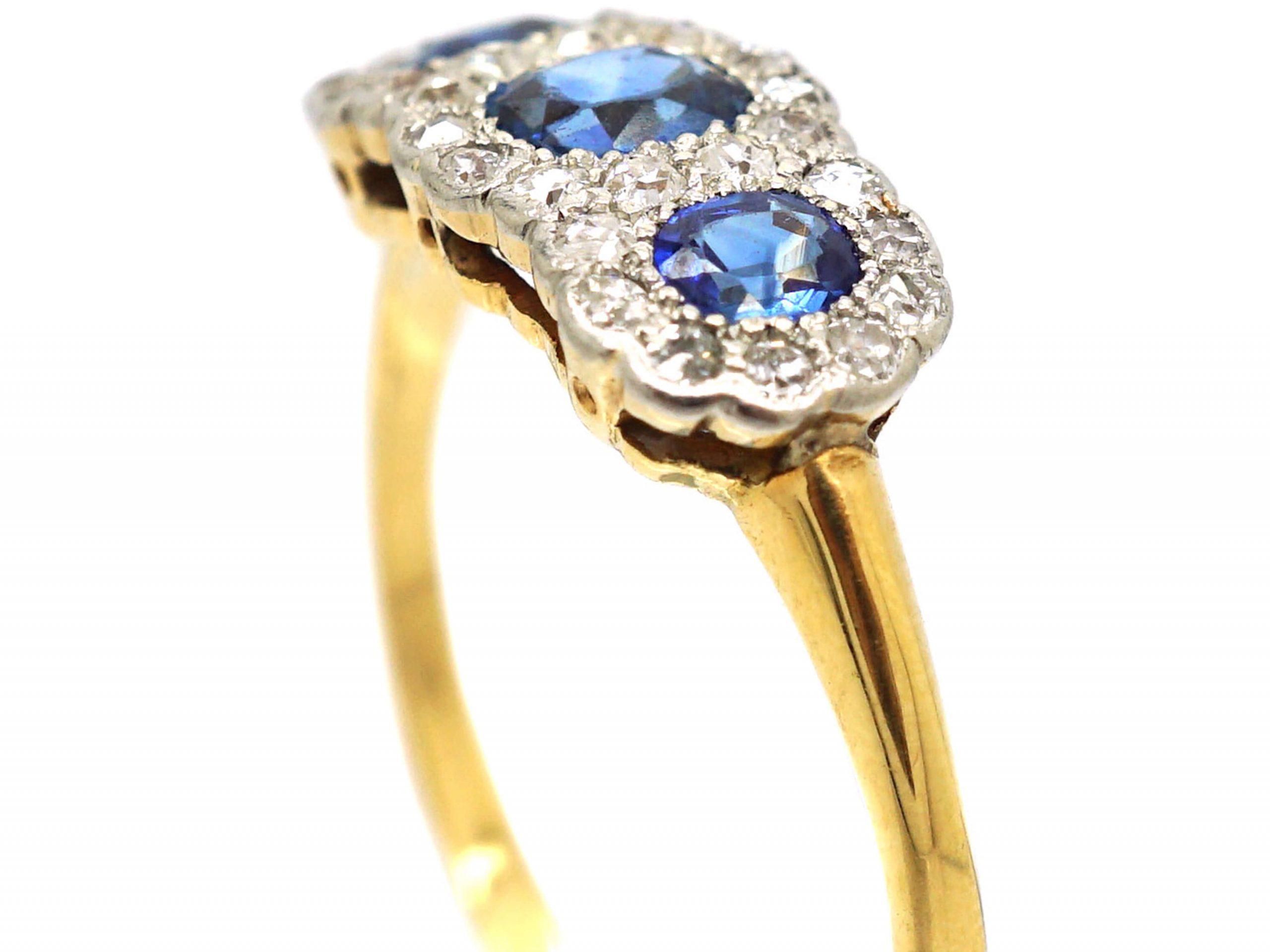 Edwardian 18ct Gold & Platinum, Triple Cluster Ring set with Sapphires & Diamonds