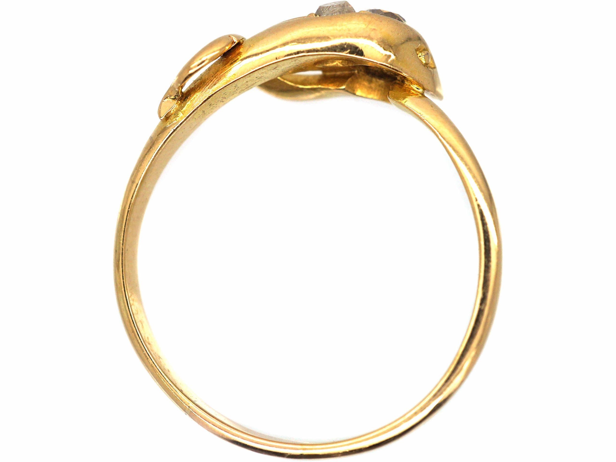Edwardian 18ct Gold Snake Ring set with Diamonds