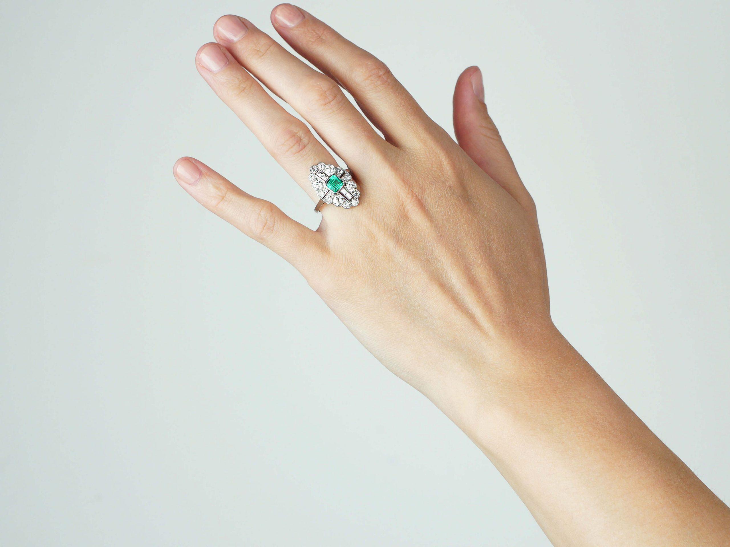 Art Deco Platinum, Emerald & Diamond Navette Shaped Ring