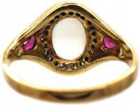 Art Deco 18ct Gold, Moonstone, Diamond & Ruby Ring