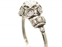 18ct White Gold Diamond Cluster Ring with Diamond Set Bands on the Shoulders