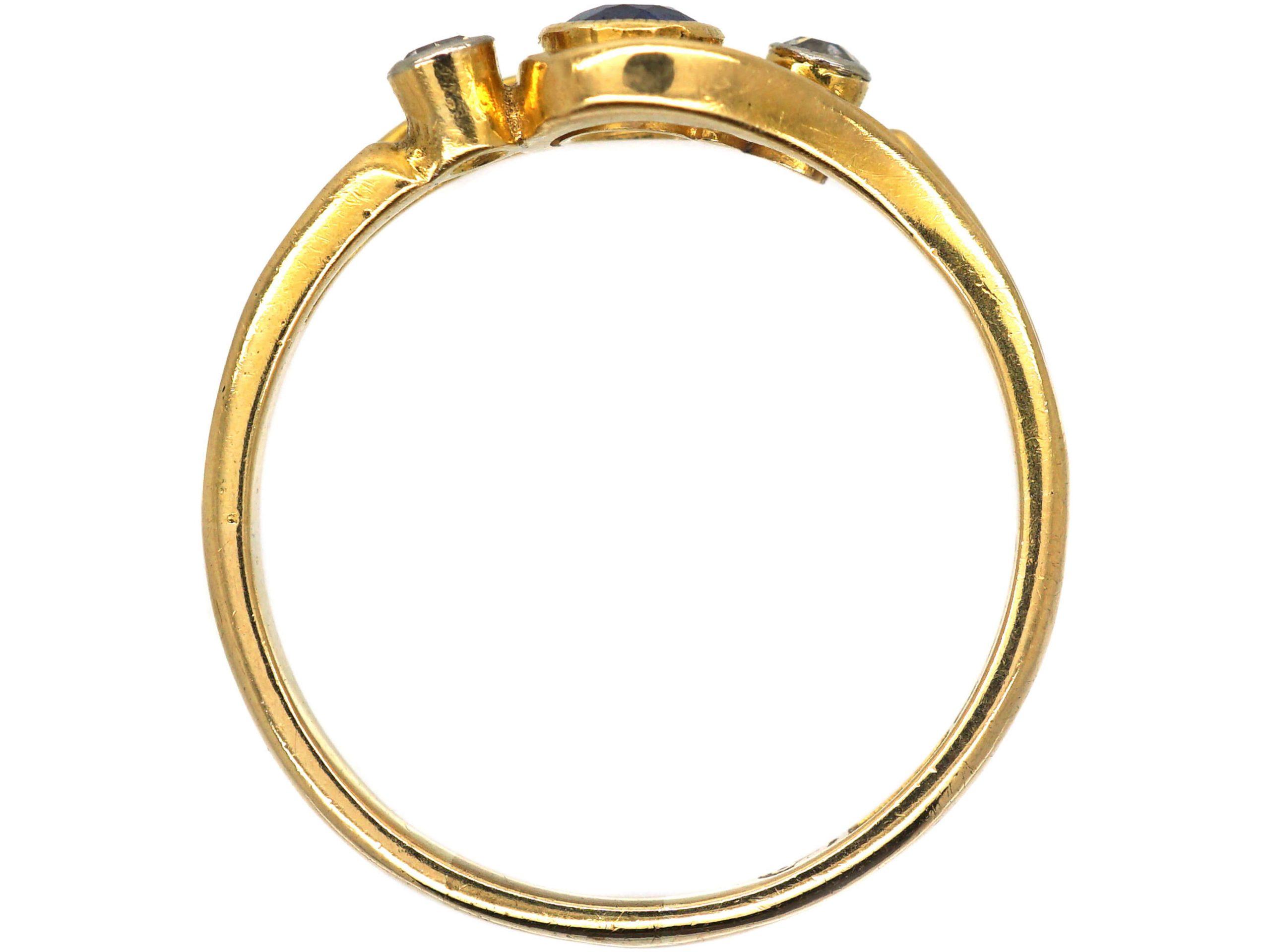 Edwardian 18ct Gold, Sapphire & Diamond Crossover Ring