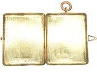 Victorian 9ct Gold Large Rectangular Locket with Engraved Unicorn