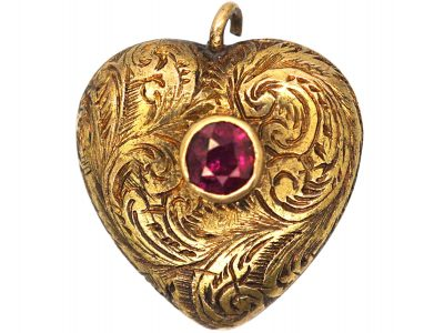 Georgian Small 15ct Gold Engraved Heart Pendant set with Ruby with a Glazed Locket on the Reverse