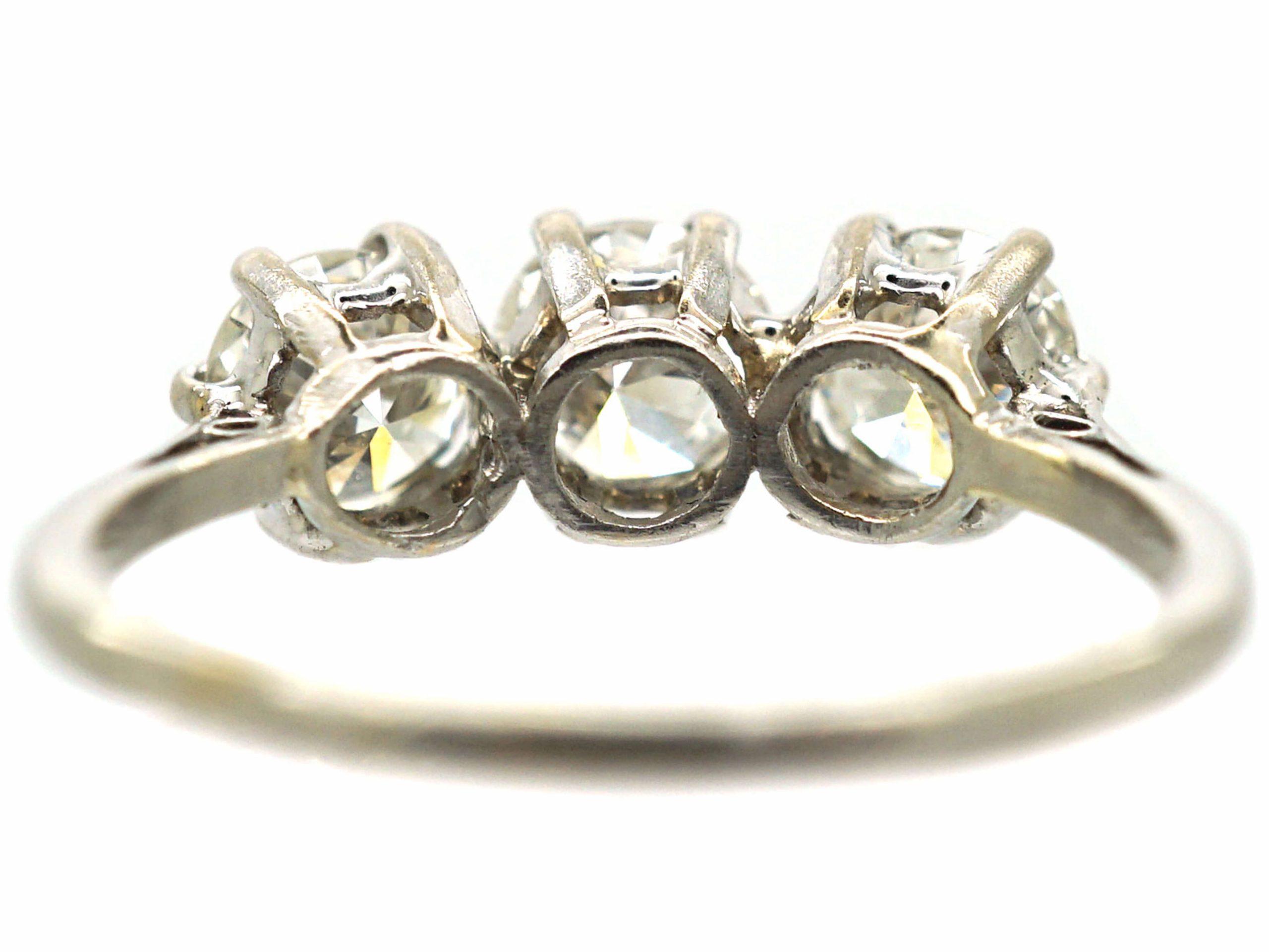 Platinum, Three Stone Diamond Ring