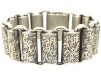 Victorian Silver Articulated Bracelet with Engraved Links