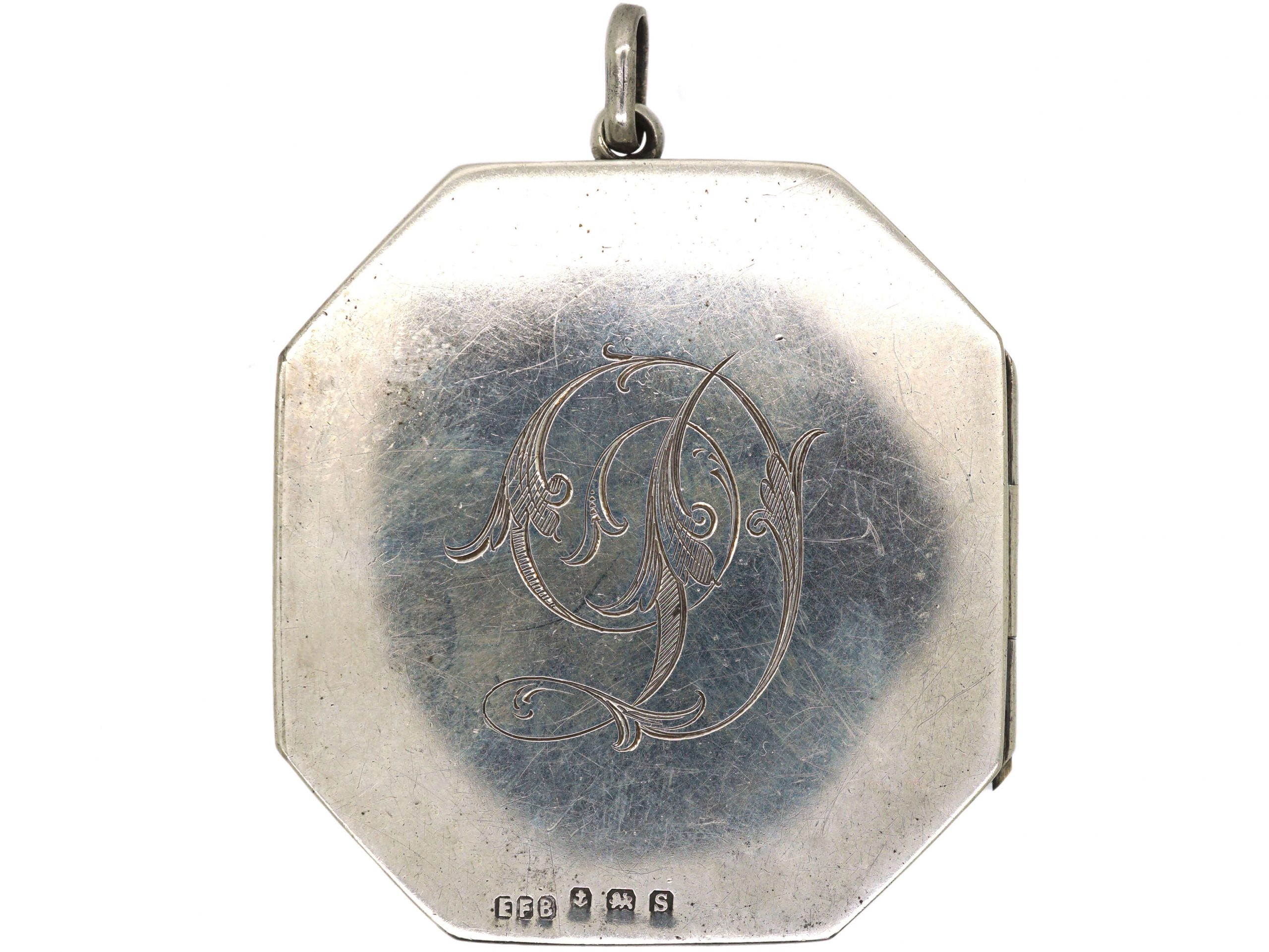 Large Silver Octagonal Locket with D Monogram