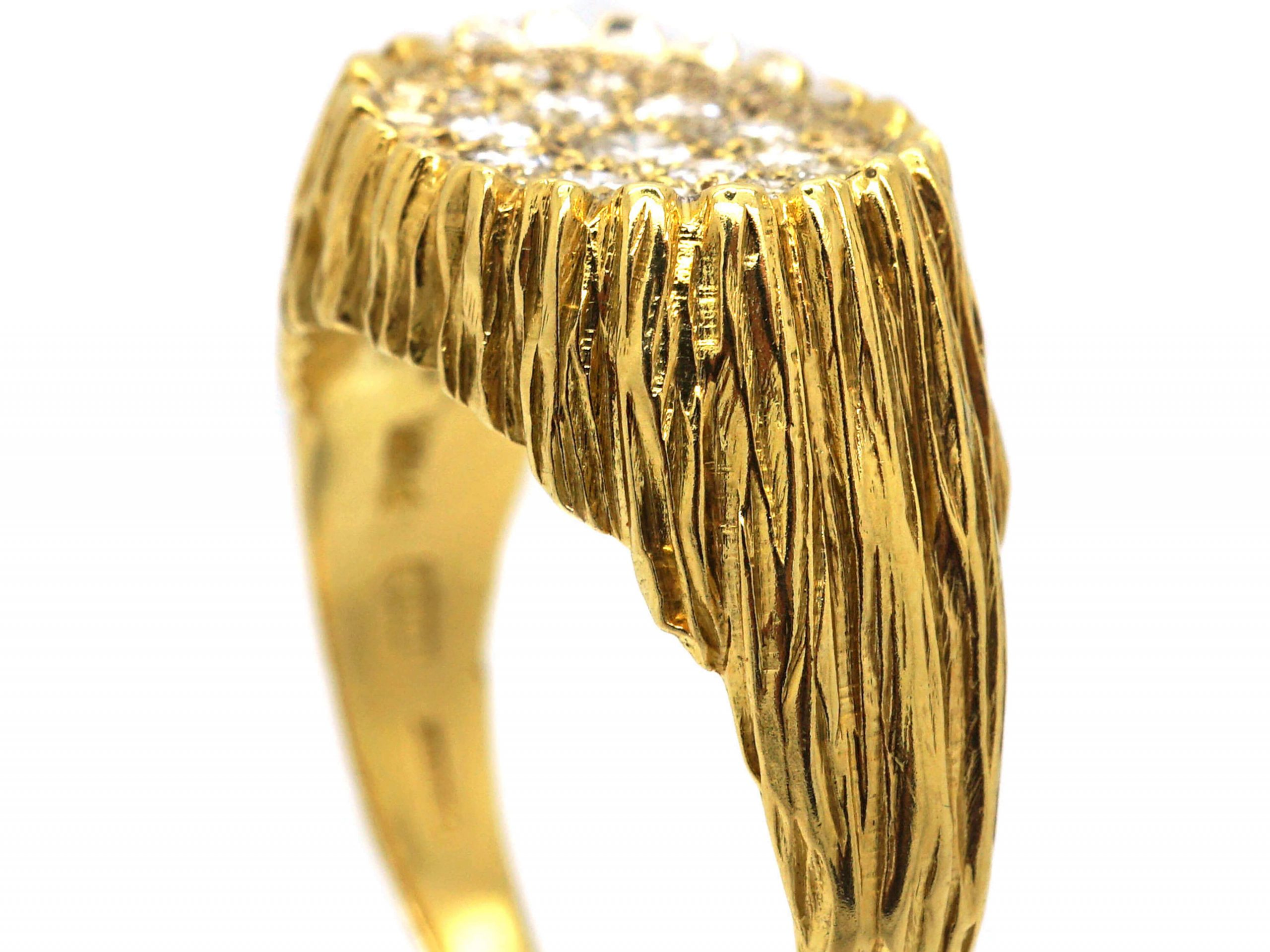 18ct Gold Modernist Ring set with Diamonds