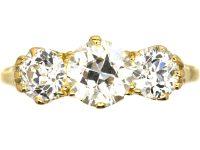 Victorian 18ct Gold, Three Stone Old Mine Cut Diamond Ring
