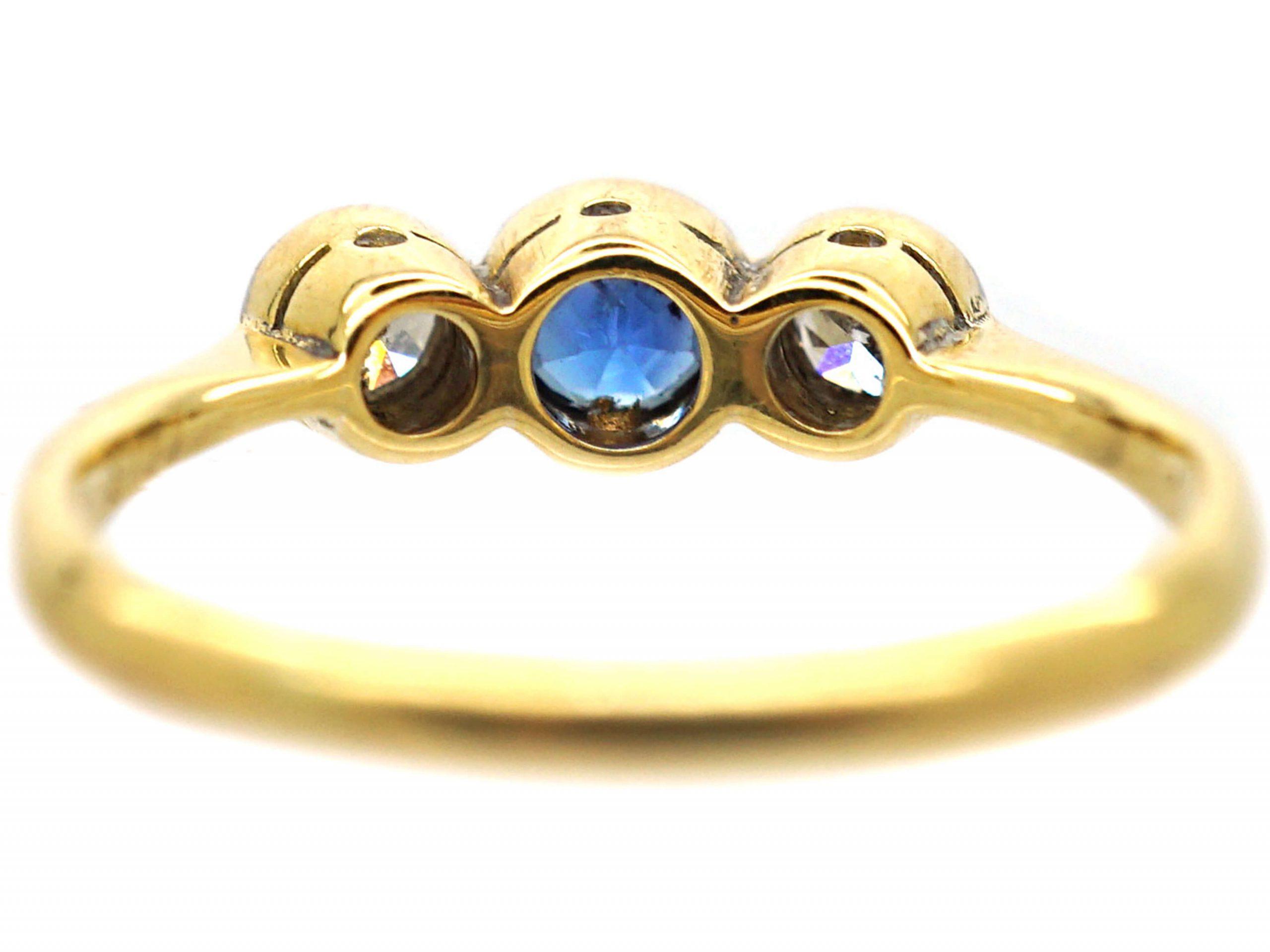 Art Deco Platinum & 18ct Gold, Three Stone Sapphire & Diamond Bezel Ring