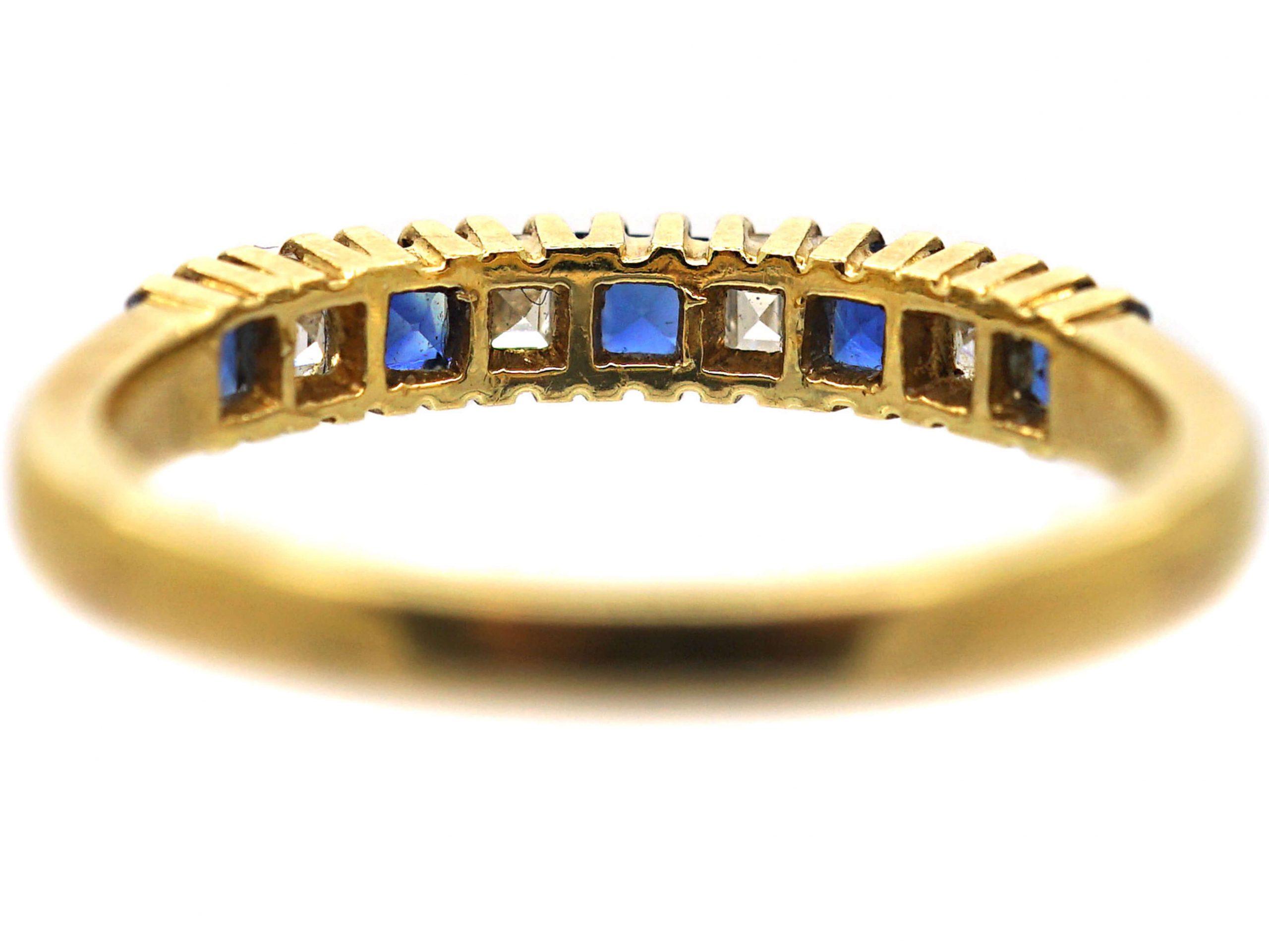 18ct Gold, Nine Stone Sapphire & Diamond Ring