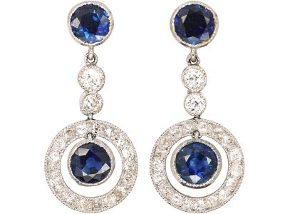 Art Deco Platinum, Sapphire & Diamond Drop Earrings