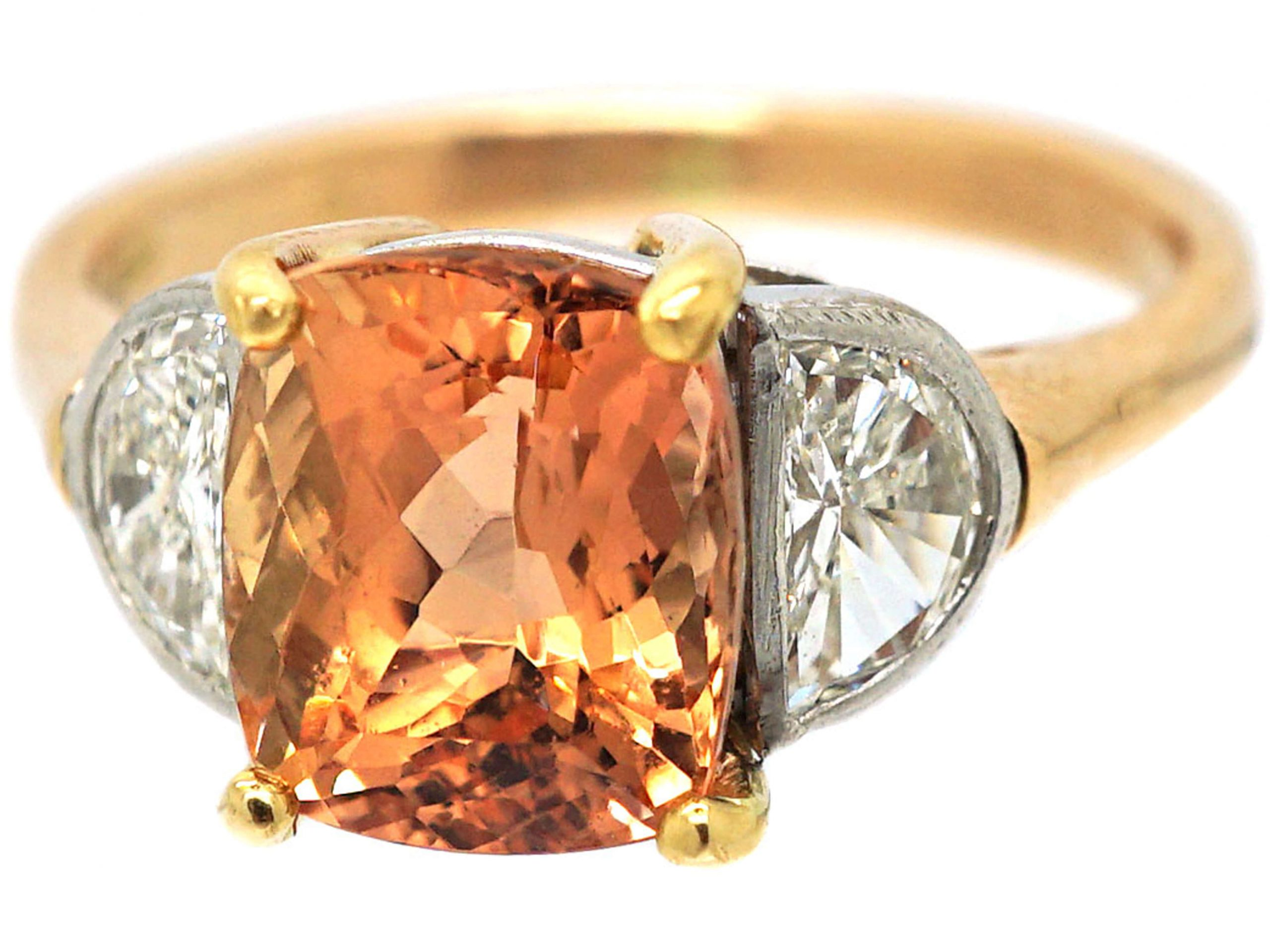 18ct Yellow & White Gold, Imperial Topaz & Diamond Ring