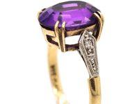Art Deco 9ct Gold & Platinum, Amethyst & Diamond Ring