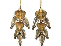Regency 15ct Gold & Rock Crystal Leaf Earrings