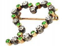 Edwardian 15ct Gold, Green Garnet & Diamond Witches Heart Brooch in Original Case