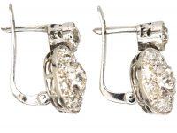 Art Deco Diamond Set Cluster Earrings with Single Diamond Above