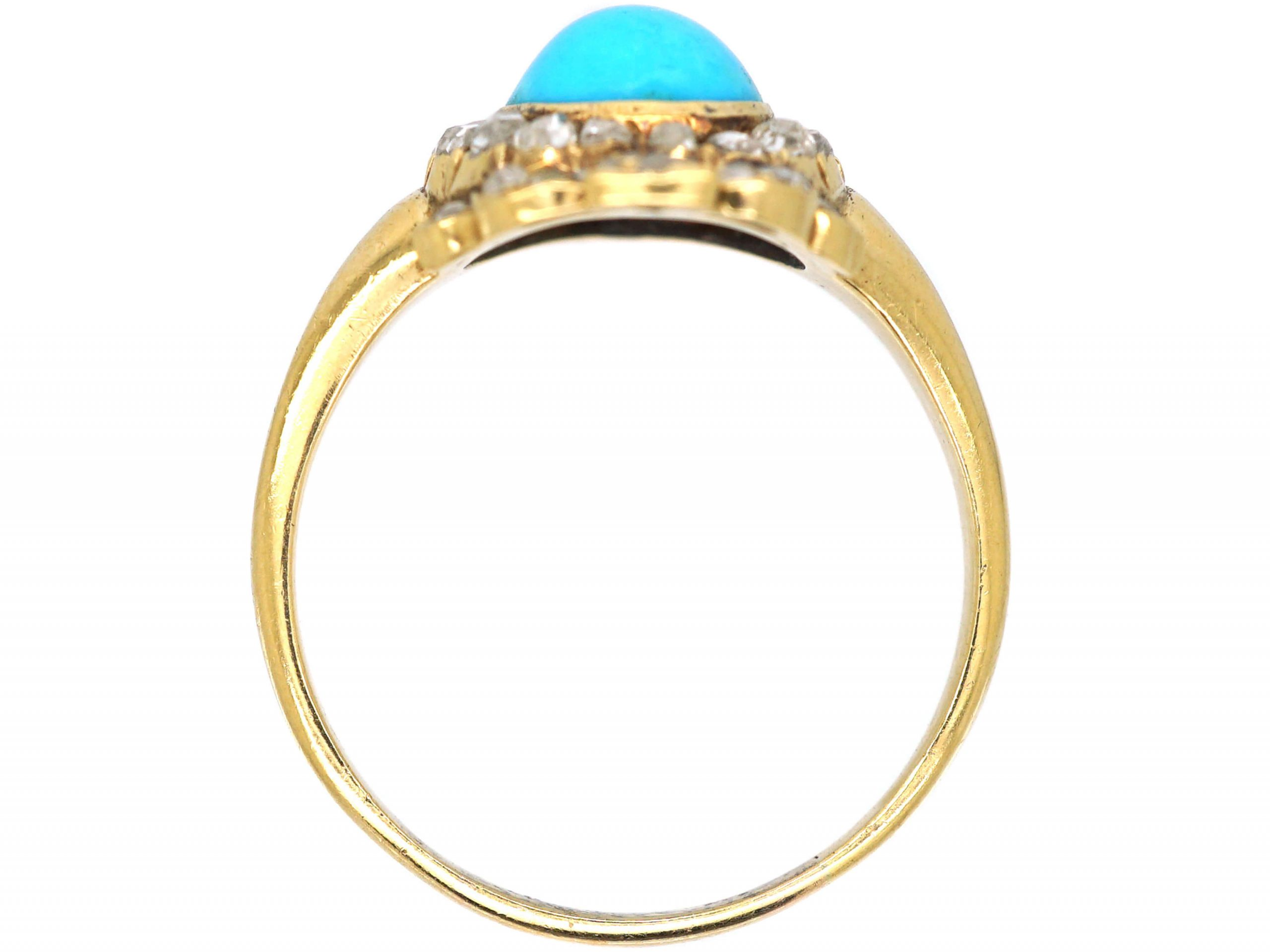 Victorian 18ct Gold, Turquoise & Rose Diamond heart Shaped Ring with Bow on top