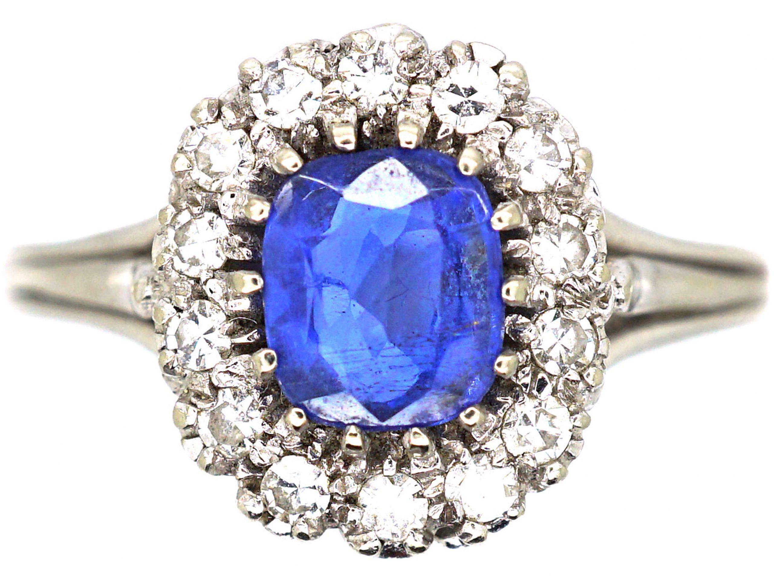 Art Deco 18ct White Gold, Sapphire & Diamond Cluster Ring