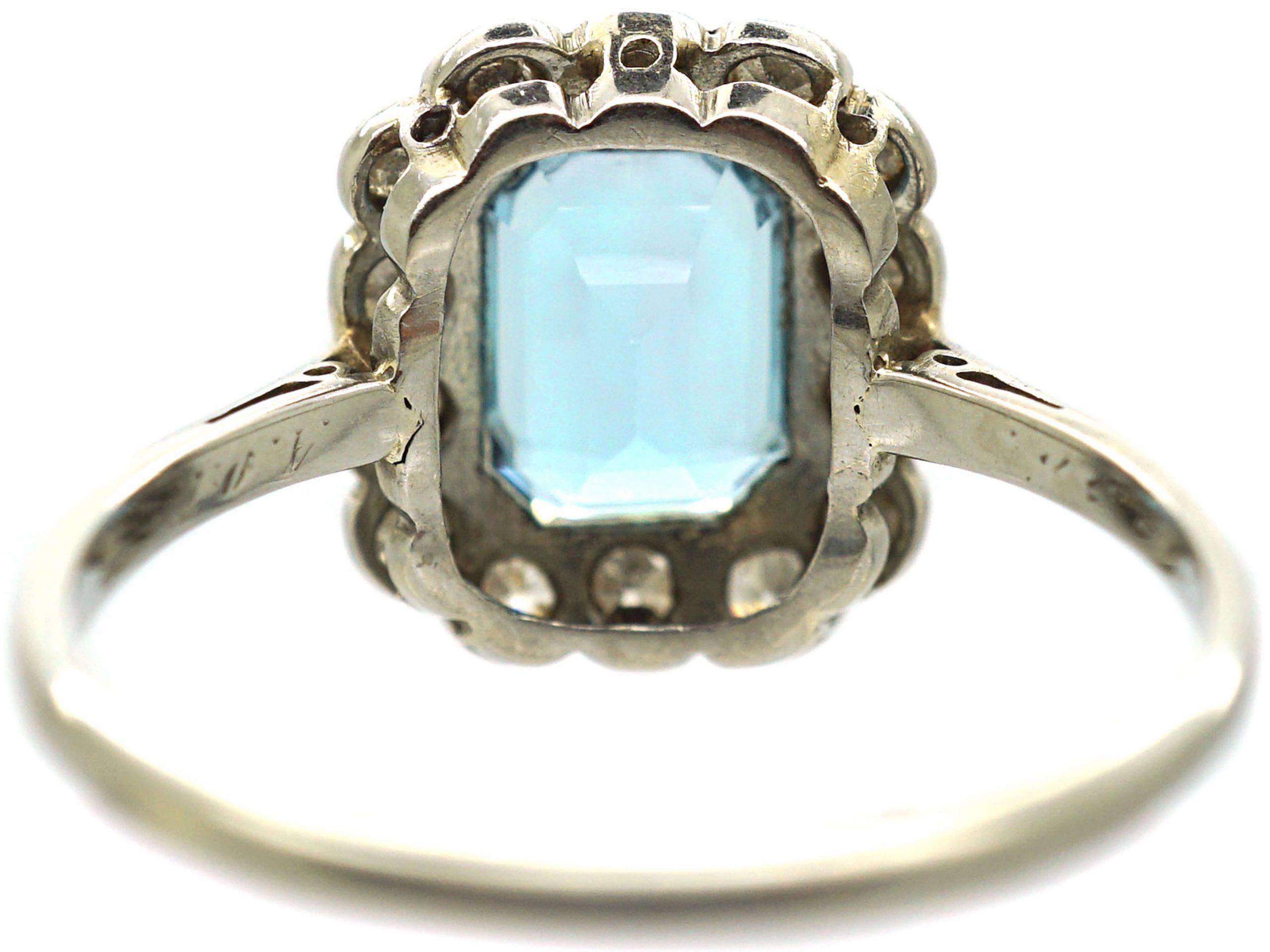 Art Deco 18ct White Gold & Platinum, Aquamarine & Diamond Rectangular Cluster Ring