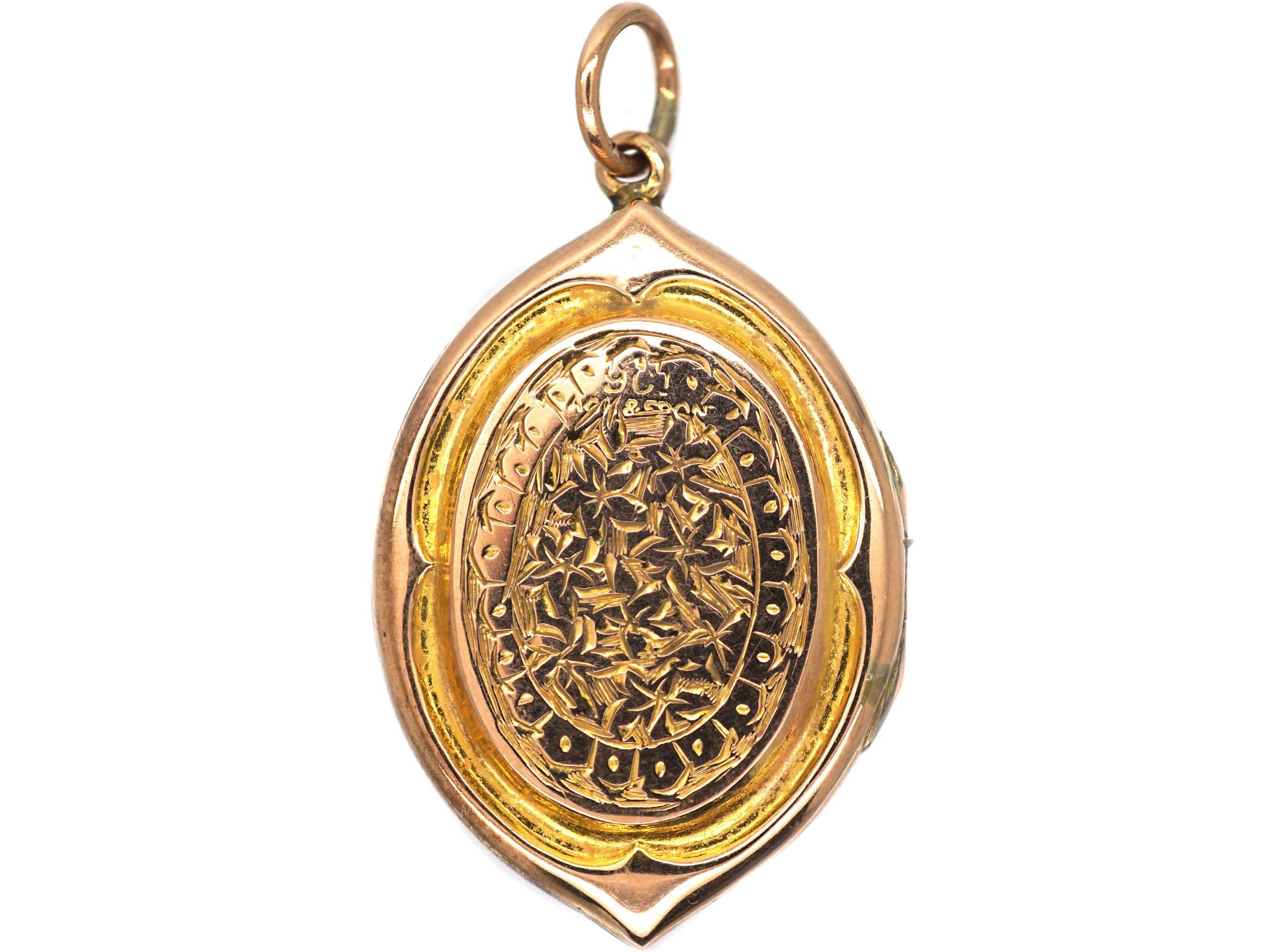 Edwardian 9ct Gold Back & Front Oval Shaped Locket