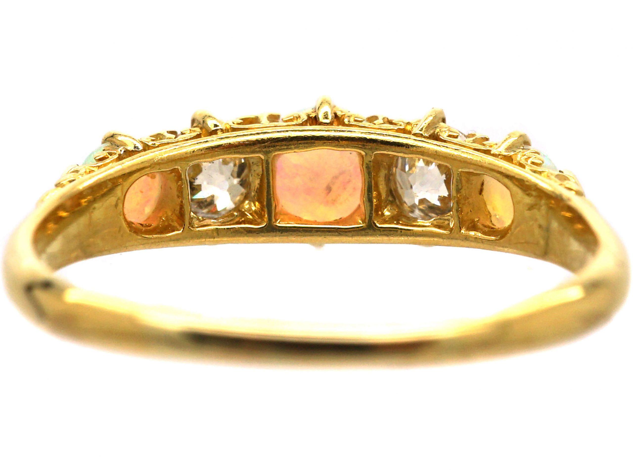 Edwardian 18ct Gold, Opal & Diamond Five Stone Ring
