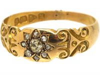 Victorian 18ct Gold Ring With Diamond Set Star Motif