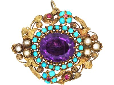 Regency 15ct Two Colour Gold Forget me Not Pendant, Brooch set with an Amethyst, Turquoise & Natural Split Pearls