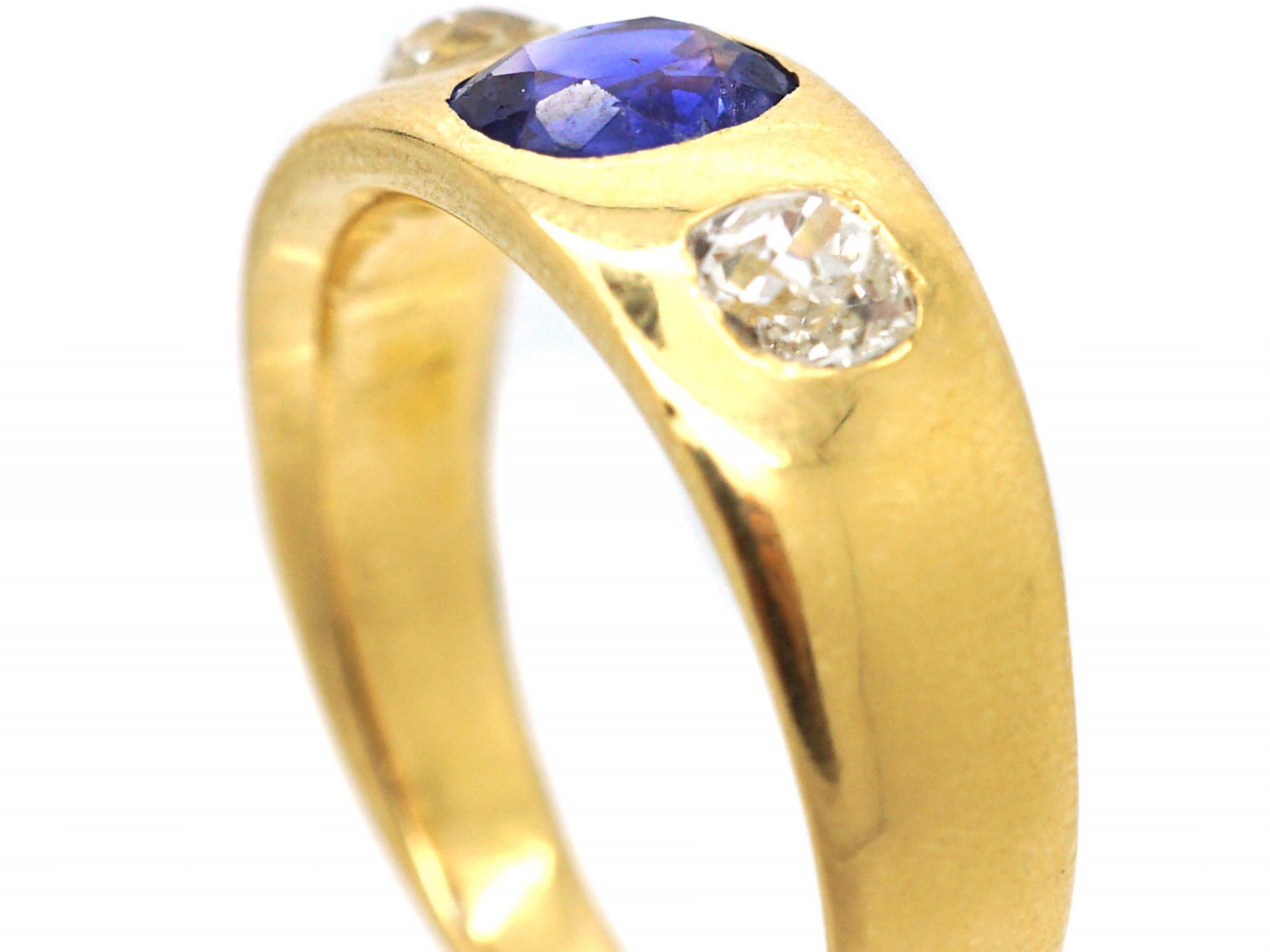 Edwardian 18ct Gold, Sapphire & Diamond Rub Over Set Ring